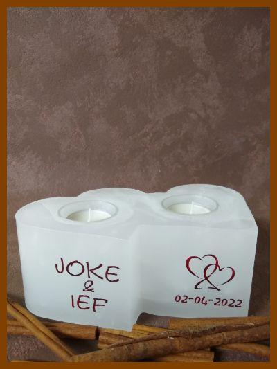 kaars in hartvorm hartkaars met handgeschreven tekst online te bestellen