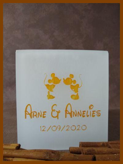 trouwkaars mickey mouse met gouden letters