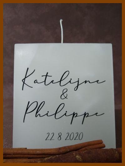witte vierkante trouwkaars met kalligrafie en datum online verkrijgbaar
