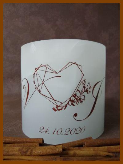 witte holle ronde huwelijkskaars met hartjes